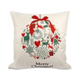 2 Pcs Weihnachten Kissenbezug Vintage Sofa Bett Deko Kissen Cover Leinen 45x45 CM Blume