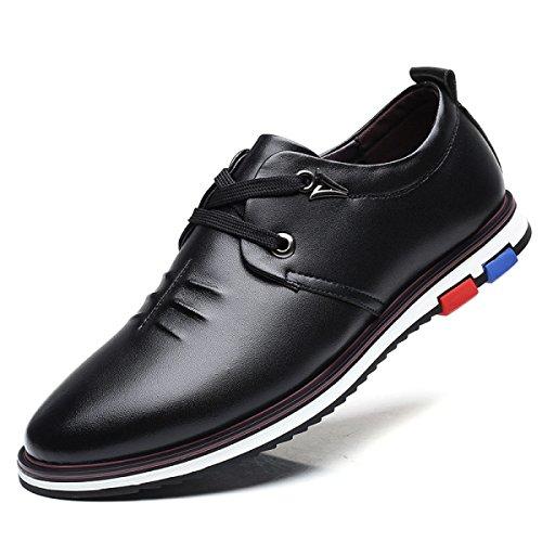 Lyzgf Hommes Adulte Loisirs En Cuir Chaussures À Lacets Appartements Confortable Noir Brun Bleu Noir