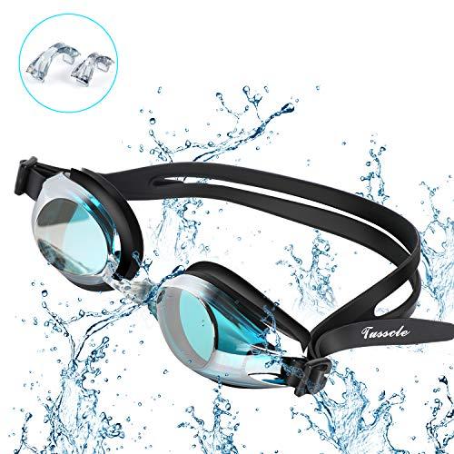 Tusscle Schwimmbrillen, Unisex Anti-Beschlag Schwimmbrillen, Kein Leck, UV Schutz, Einstellbar, Einfach zu Tragen (Erwachsene-Schwarz)