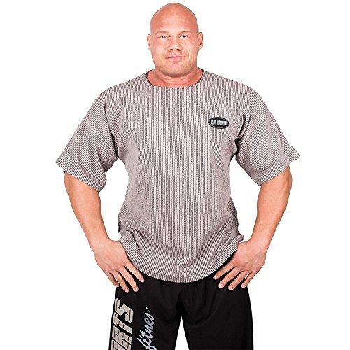 Studio Gerippt (Gym-Shirt S8 - Farbe: hellgrau Gr.M / Bodybuilding Shirt, Fitness T-Shirt - Ideal f. Workout im Fitness-Studio)