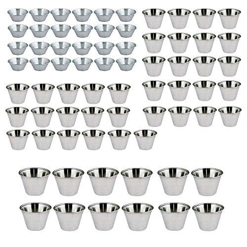 Kosma Satz von 72 Edelstahl Gewürz Tassen | Sauce Cup | Sauce Salatsoße Cups (24 pc -1,5 g/45 ml, 36 pc-2.5Oz / 70 ml und 12 pc - 4 oz/115 ml)