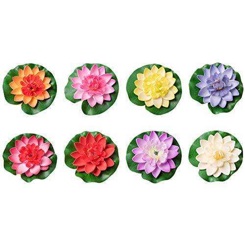 8 Stück Gefälschte Lotus Künstliche Schwimmende Blumen Lotus Seerose Pflanzen Garten Teich Dekor 10cm/18cm (10cm)