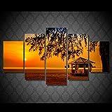 DRNXP HD Stampato Sunset Beach Padiglione Pittura Stampa su Tela Room Decor Print Poster Picture Canvas @ No_Frame_30X40_30X60_30X80cm