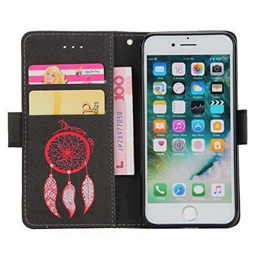 iPhone 6s Plus 5,5Zoll Schutzhülle,iPhone 6 Plus Leder Hülle,TOYYM Ultra Dünn Full Body Protection Flip Leder Wallet Brieftasche Case 3 in 1 Handytasche mit Stand Funktion Kartenfächer Magnetverschlus Schwarz,Traumfänger