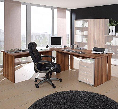 Eckschreibtisch Schreibtisch Winkelschreibtisch in Nussbaum Dekor