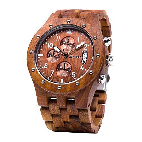 BEWELL Uhren Aus Holz Herrenuhr Chronograph Quarzwerk mit Holzarmband Datum Kalender Stoppuhr Rund Uhr (Rot) -