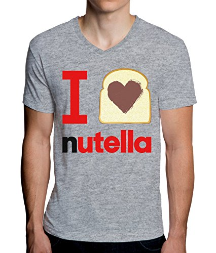 I Love Nutella Graphic Design Men's V-Neck T-Shirt Large - V-neck Graphic T-shirt