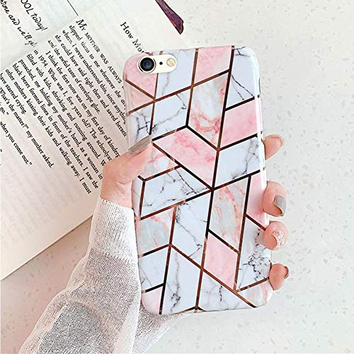 Herbests Kompatibel mit iPhone 6S 4.7 Handyhülle Marmor Matt Marble Muster Schutzhülle Dünn Handytasche Glitzer Glänzend Ultradünn Transparent Durchsichtige Silikon Hülle Case,Pink Weiß