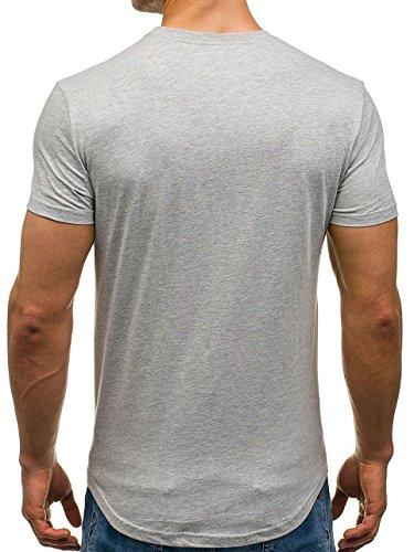BOLF Herren T-Shirt Tee Kurzarm Print Rundhals Slim Sommer Aufdruck 3C3 Motiv Grau
