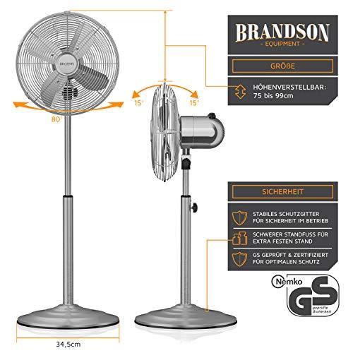Brandson – Standventilator mit Oszillation 80° im Chrom-Design | 30 cm Rotor | hhenverstellbarer Standfuß | 3 Geschwindigkeiten | 30° neigbar | Ventilator Standlfter | GS-Zertifiziert kaufen  Bild 1*