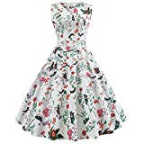Xmiral Damen Kleid Polyester-Weinlese-Sleeveless O-Ansatz-Abend-Druck-Partei-Elegantes Ballkleid-Kleid (S,Weiß-3)