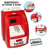 Unbekannt elektrische Spardose -  Geldautomat - incl. Name  - rot - mit Sound + PIN Geldkarte + Sparzähler + Alarm Funktion + Zählfunktion / stabile & Digitale Sparbü..