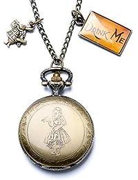 XIGEYA® Vintage - Colgante de cobre con reloj de cuarzo de bolsillo, diseño de Alicia en el País de las Maravillas
