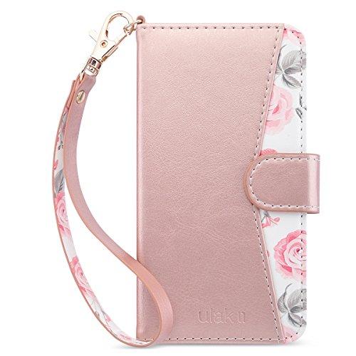 Hülle, iPhone 6 Plus Hülle Wallet, Premium PU Leder Wallet Case mit Ständer Kartenhalter Handschlaufe Stoäfest Vollschutzhülle für iPhone 6 Plus / 6s Plus, Roségold ()