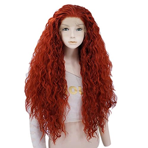 Estyle Fashion 24 Inches Lang Lockig Mode Cosplay Haar Voll Lace Front Wig Perücke (Rot Orange)