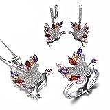 JewelryPalace Magnifique Bague Boucles d'Oreilles Collier 45cm Pendentif Ensemble Oiseau ...