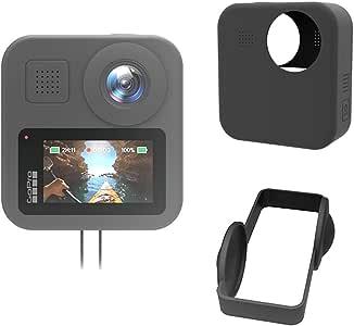 TUTUO Custodia Protettiva in Silicone con Cordino per GoPro Max, (Nera), Custodia in Silicone Morbida AntiGraffio/Resistente alla Caduta per Videocamera d'azione GoPro Max