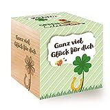 Feel Green Celebrations Ecocube, Quadrifoglio Portafortuna, cubo in Legno con Incisione Laser Ganz viel Glück für Dich, Idea Regalo sostenibile, Set di Coltivazione, Made in Austria