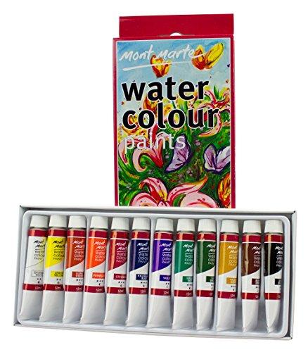 MONT MARTE Wasserfarben / Aquarellfarben Set (12ml) – 12 Stück – Ideal für Aquarellmarlerei...