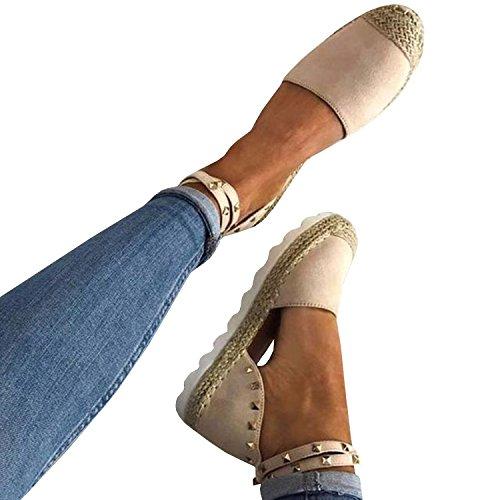 Gemijacka Damen Knöchel Schnalle Riemen Espadrilles Ausgeschnitten Binden Niet Klassischen Sommer Flache Sandale Schuhe (35, 3-Weiß) (Flache Weiße Sandale Frauen)