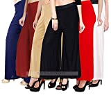 Lili Women's Stretchy Malia Lycra Wide Leg Palazzo Pants Pack of 6 (Free Size)
