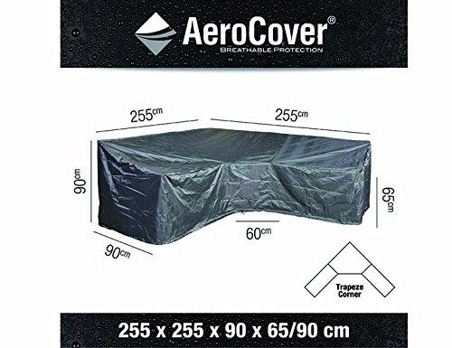AeroCover Atmungsaktive, frostbeständige und Wasserdichte Schutzhülle in anthrazit für Lounge Möbel, in praktischer Tragetasche, Trapez-Form, 255 x 255 x 90 x H90, 7955