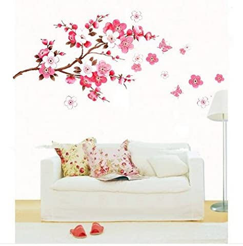 Pink Cherry Peach Blossom Plum Flowers Butterfly Wall Stickers Decal Room Decor (Large-60cm x 90cm) by Newsee