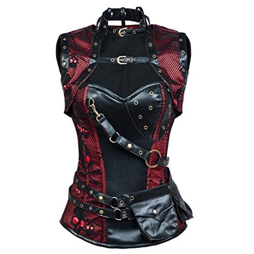 Schwarz Leder Plus Size Taille Trainer Skinny Gothic Sexy Steampunk Kostüm (Muster Für Renaissance-kostüme)