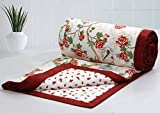 AURAVE Bird Cage & Floral Reversible Pattern 1 pc Cotton Dohar - RED - Single Size (Gift Packed)