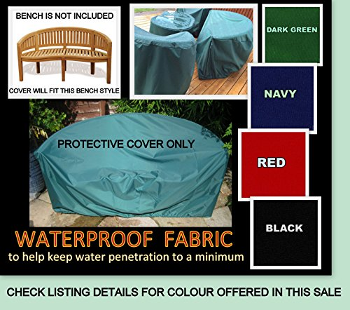 Zippy Waterproof Fabric BANANA BENCH COVER - DARK GREEN - also fits Peanut - Moon - And shaped benches - Garden furniture