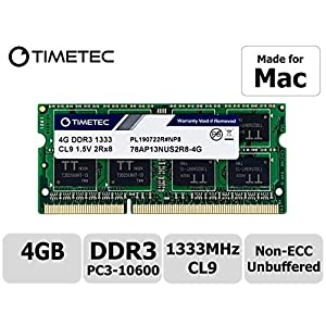 Timetec-Apple-DDR3-1333MHz-PC3-10600-Unbuffered-Non-ECC-15V-CL9-2Rx8-Dual-Rank-204-Pin-SODIMM-Apple-Memory-Ram-Module-Upgrade