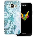 Mobilefox Liquid transparente Silikon TPU Schutzhülle 0,7mm dünne Handy Soft Case für Samsung Galaxy A3 (2016) Liquid Grün Blau - Verlauf Hülle Cover