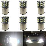 6 Pacchi 1156 BA15S 7506 1141 1003 1073 LED a Luce Bianca 10-30V-DC, 800Lums 3014 54SMD Replacement for Illuminazione per Camper RV Interna, Indicatori di Direzione, Fanale Posteriore, Luce del Freno