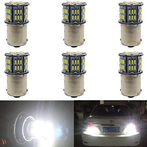 Single-lampe Wärme-lampe (6er Pack 1156 BA15S 7506 1141 1003 1073 Extrem helles Weiß 800Lum LED-Licht 10-30V-DC, 3014 54 SMD Ersatz für Innenraum RV Camper Beleuchtung Blinker Lampen Schwanz Bremsen Glühbirnen)