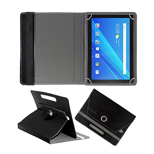 Fastway Rotating Leather Flip Case for Lenovo Tab 4 10 16 GB 10.1 inch with Wi-Fi+4G Tablet Cover Stand Black