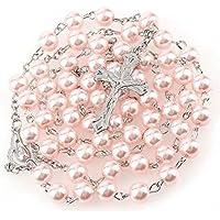 Rosario di comunione di gioielli di perle rosa 56 cm