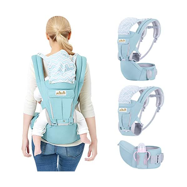 Viedouce Baby Carrier Ergonomic with Hip Seat/Pure Cotton Lightweight and Breathable/Multiposition:Dorsal, Ventral, Adjustable for Newborn and Toddler from 0 to 4 Years (3.5 to 20 kg) Viedouce 【More environmentally friendly】-Baby carrier has high quality pure cotton fabric with 3D breathable mesh take care of your health and the health of your baby; The detachable sun visor and wind cap provide warmth in the winter and freshness in the summer. At the same time, the zipper buckle is designed for easy disassembly and cleaning. 【More ergonomic】 -Baby carrier for newborn has an enlarged arc stool to better support the baby's thighs, the M design that allows the knees to be higher than the buttocks when your baby sits, is more ergonomic. 【Comfort and safety】 - The area near the abdomen is filled with a soft and thick sponge, reduces the pressure on the abdomen and gives more comfort to you and your baby. High quality professional safety buckles and velcro, shock absorbing pads, are equipped to protect your baby. 4