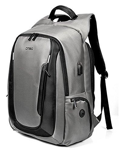 DTBG Rucksack für 17 - 17,3-Zoll-Laptop mit USB-Anschluss, aus Nylon, für unterwegs, wasserfester Rucksack für HP/Dell/Asus/Lenovo, für Herren und Damen (schwarz) grau grau 17.3 Inches