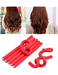 CkeyiN 10 pcs Rouleaux Bigoudis - Bigoudis Flexibles en mousses 24x1.0cm - DIY outil de coiffure Pour les Femmes / Enfants (Rouge - 10pcs)