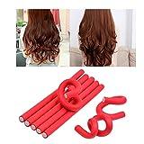 Rouleaux Bigoudis, 10 pcs Bigoudis Flexibles en mousses 24x1.0cm - DIY outil de coiffure Pour les Femmes / Enfants (Rouge - 10pcs)