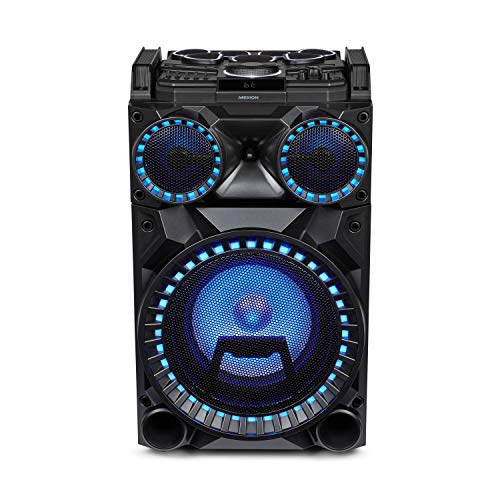 MEDION X64030 Party-Soundsystem (Partylautsprecher Karaoke, Bluetooth 2.1, Kompaktanlage, 1000 Watt, Farbige LED, USB, AUX, SD-Kartenleser, Mikrofonanschluss, Gitarrenanschluss) Bluetooth Mobile