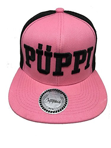 Outfitfabrik ♥ hearts; Snapback Cap Stickerei Püppi in schwarz-rosa