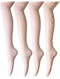 37c551dfd60 ANDIBEIQI Women Fishnet Stockings - 4 Pairs High Waist Fishnets Tights  Pantyhose for Dancing Party Halloween