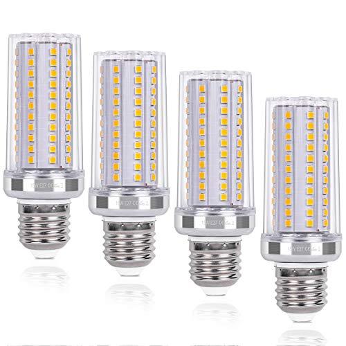 SanGlory 4 Pezzi Lampadine LED E27 15W Equivalenti a 120W, Lampade Mais E27 Luce Calda 3000K 1720LM Alta luminosità e Risparmio Energetico Non Dimmerabile (E27 LED Calda)