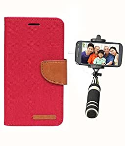 Aart Fancy Wallet Dairy Jeans Flip Case Cover for MicromaxA104 (Red) + Mini Fashionable Selfie Stick Compatible for all Mobiles Phones By Aart Store