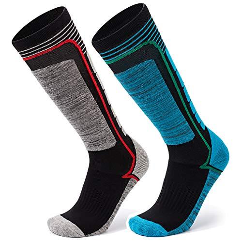 2 paia calze da sci per adulti e bambini, invernali neve calzini spesso e termici per uomo donna ragazzi ragazze unisex, calzini lungo di calda e asciutto per pattinaggio snowboard motoslitte