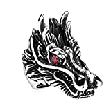 Acier Inoxydable Bague Mariage pour Homme Dragon Head Rouge Taille 69 by AMDXD