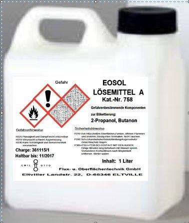 EOSOL Lösemittel A, 1.000 ml -Reinigungsmittel zum Säubern bzw. Entfetten von Werkstücken und Entfernen von Anreisfarben und Tuschierpasten-