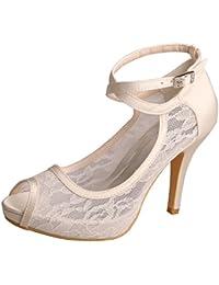 2a8c9c89e Wedopus MW7008 Women Peep Toe High Heel Platform Ankle Straps Lace Wedding  Shoes Bridal