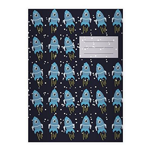 Kartenkaufrausch 2 Außerirdische Raumfahrt DIN A5 Schulhefte, Schreibhefte mit coolen Raketen, dunkelblau Lineatur 2 (liniertes Heft)